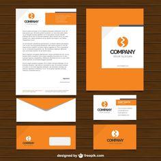 Une conception simple de l'entreprise de papeterie en couleur orange Vecteur gratuit