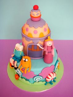 butter hearts sugar: Adventure Time Birthday Cake