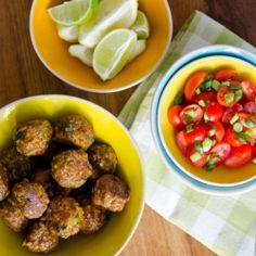 Succulent, spicy Indian style lamb meatballs served with fresh sambals and lime wedges