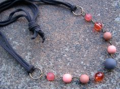 Fresh Take T Shirt Yarn Necklace - Recycled T Shirt Yarn and Vintage Beads in Browns and Oranges