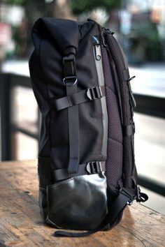 """Roll-Top Backpack from 1point61 on EtsyRoll top closed W11"""" H22"""" D7"""" Roll top open W11"""" H32"""" D7"""""""