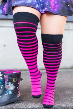 922bb1541e2 Extraordinary Acrylic Gradient Stripes - Con Edition - Black N.Pink. Thigh  High ...