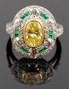 Platinum Vivid Yellow Diamond , Emerald Ring - Yafa Jewelry #YafaJewelry #YellowDiamond #VonGiesbrech Jewels