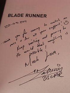 "Oscar Pistorius - Athlete handwriting. His note should reveal ""multiple personalities""."