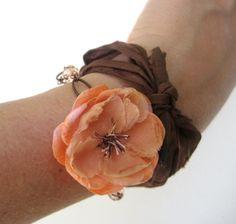 Vintage Blooms Bracelet  Peach fabric flower by CheekyChickDesigns, $19.00