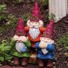 Gnome Sweet Gnome See, Hear, Speak No Evil Statue