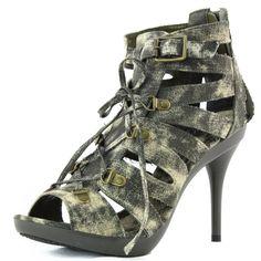 4ba91a79ea96c2 Women s  Fashion  Shoes  Women s Beyond Presley-43 Army Green Strappy Platform  High