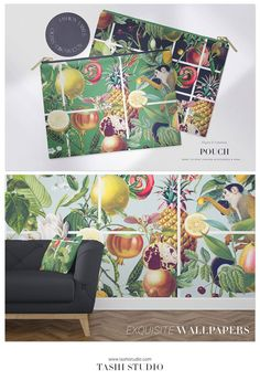 Luxurious tropical seamless patterns with exotic fruits and vegetation elements developed into seamless patterns and also comes with individual motifs. Perfect for a wide range of products from printed fashion apparels, home decor to wallpaper and interiors. #prints #patterns #fabricdesign #textiledesign #tropicalprints #watercolours #printeddesign #springsummerprint #luxurypatterns #designs #art #frutas #fruitspatterns #vibrantprints Textile Design, Fabric Design, Ed Design, Exotic Fruit, Beautiful Patterns, Print Patterns, Tropical, Vibrant, Watercolor