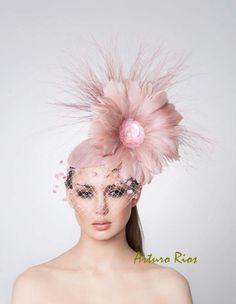 Blush pink Fascinator, Cocktail hat, Easter Hat, Derby Hat via Etsy.