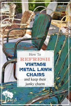 Vintage Metal Chairs, Metal Lawn Chairs, Metal Outdoor Chairs, Outdoor Decor, Vintage Patio, Patio Chairs, Outdoor Spaces, Yard Furniture, Redoing Furniture
