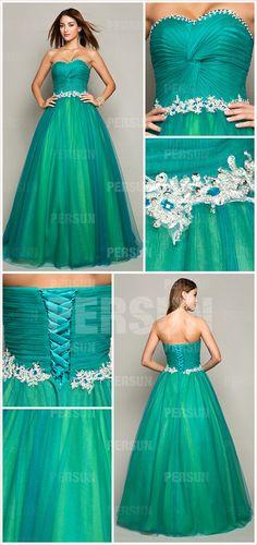 Herz-Ausschnitt plissiertes Perlen verziertes grünes Tüll Ballkleid - € 1050 - Abendkleider - online Kaufen