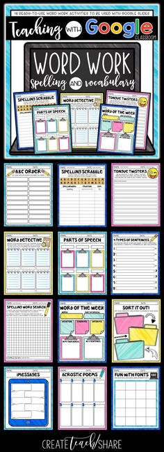 These word work activities were designed for students to use with google slides…