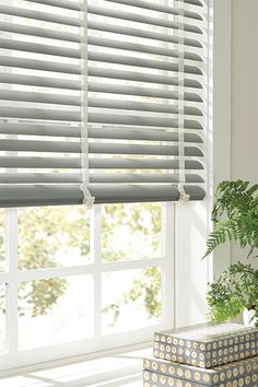 """2"""" Vinyl Blinds with Cord Control: Fiber, Pebble 3092; 1"""" Cloth Tape: Duck White"""