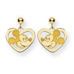 14k Yellow Gold Disney Tinker Bell Silhouette Oval Earrings