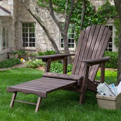 If you can't decide between a classic yard chair or a traditional lawn chair, there's no need to choose. This Dark Brown Wood Adirondack Chair with Built-in Retractable Ottoman gives you the best of b