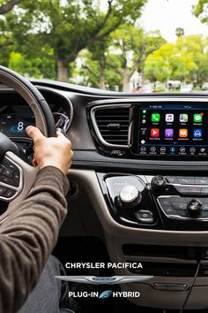 With Uconnect®, information is at your fingertips. #Chrysler #ChryslerPacifica #Pacifica #Hybrid #plugin #minivan #familyvan #vangoals #technology #interior