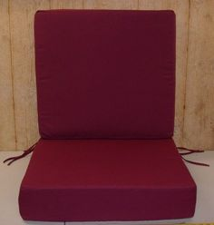 """(2) Pc Set Braddock Heights Sectional Deep Seat Outdoor Patio Cushion Set 22"""" x 22"""" x 5.5"""" Ea Cushion ~ Burgundy ~ Shipping Included in Price by Arden. $49.99. Cushions are made of sturdy twill fabric.. Back Cushion Dimensions in Inches:  22 L x 22 W x 5.5 Thick. The Back and Seat cushions are reversible.. Seat cushion has two sets of ties.. Seat Cushion Dimensions in Inches:  22 L x 22 W x 5.5 Thick. This is a set of replacement chair cushions for indoor or outdoor use. ..."""