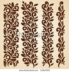 Vector set of floral elements. Seamless pattern for frames and borders. Elements are grouped for convenience - stock vector Vector set of floral elements. Seamless pattern for frames and borders. Elements are grouped for convenience - stock vector Stencil Patterns, Stencil Art, Stencil Designs, Pattern Art, Stencils, Border Embroidery Designs, Embroidery Patterns, Alpona Design, Ornaments Image