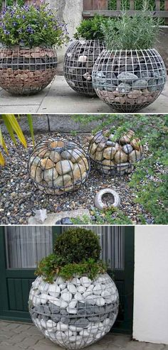 Garden Gabion Ball Created From Wire Mesh and River Rocks