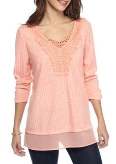 Kim Rogers Peach Feathery Crocheted Detail Top