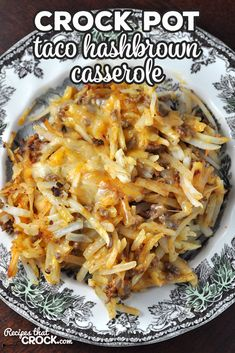 Taco Crock Pot Hashbrown Casserole – Recipes That Crock! This Taco Crock Pot Hashbrown Casserole recipe is super simple and really delicious! It is sure to be a family favorite the first time you make it! via Recipes that Crock! Easy Hashbrown Casserole Recipe, Hash Brown Casserole, Easy Casserole Recipes, Meatball Casserole, Potato Side Dishes, Side Dishes Easy, Side Dish Recipes, Main Dishes, Crockpot Dishes