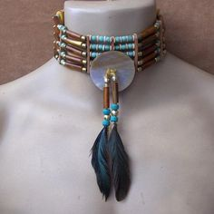 Native American 5 Strand Genuine Green Turquoise Hairpipe Choker with mother-of-pearl center disc. $115