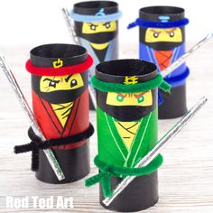 How to Throw A Lego Ninjago Party Toilet Roll Craft, Toilet Paper Roll Crafts, Cardboard Crafts, Ninjago Party, Lego Ninjago Movie, Lego Movie, Movie Crafts, Fun Crafts, Crafts For Kids