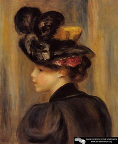 Young Woman Wearing a Black Hat  Pierre Auguste Renoir