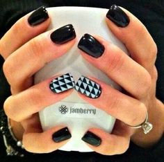 Jamberry Nails~Rock-N-Roll Nail Wrap with our Raven Nail Lacquer. Funky Nails, Love Nails, How To Do Nails, Pretty Nails, My Nails, Uñas Jamberry, Jamberry Nail Wraps, Nagel Hacks, Nagel Gel