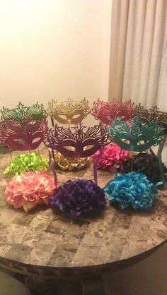 Centerpieces for my daughter's Midnight Masquerade Champagne Party. I had fun making them! Sweet 16 Masquerade, Masquerade Wedding, Masquerade Ball, 40th Birthday Parties, Sweet 16 Birthday, 16th Birthday, Masquerade Party Decorations, Quinceanera Decorations, Champagne Party