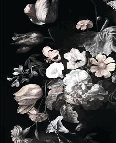 SALE Dark Floral Mural Floral Wallpaper Still Life by anewalldecor