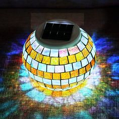 Solar Lights, SOLMORE LED Color Changing Solar Table Lights Mosaic Glass Ball Solar Outdoor Garden Lights Solar Night Lights Waterproof for Home Yard Patio Decorations