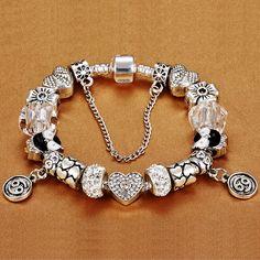 Multicouche Femme Fashion Cristal Alliage Cuff Bangle Chaîne Bracelet Charm Bijoux
