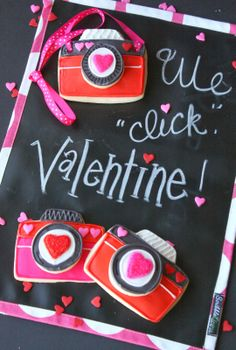 Valentine Camera Cookies by Munchkin Munchies.