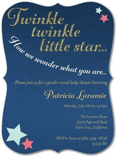 Twinkle Twinkle Little Star, how we wonder what you are... Boy or girl baby gender reveal invitations for baby shower. Click to view, or get a coupon for 20% off and free shipping at Shutterfly: https://customprintingdeals.com/stores/shutterfly-coupons/