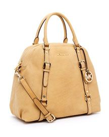 Bedford Extra-Large Bowling Satchel, Nude Matte Python-Embossed Leather