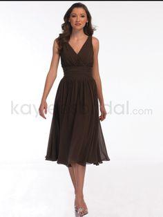Chiffon V-Neckline Tea-Length A-line Bridesmaid Dress