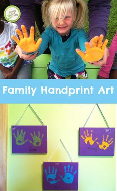 Make DIY gifts for someone you love from the entire family! Or on second thought, you might want to keep this one for yourself.  http://www.greenkidcrafts.com/family-handprint-art/