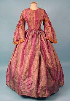 SIlk plaid day dress, ca. 1858.   In the Swan's Shadow