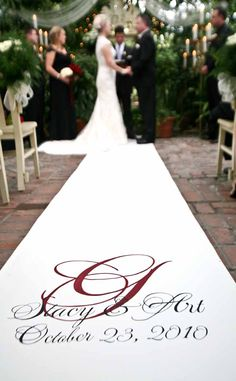 Custom fabric aisle runner by www.customizedweddingcreations.com.  Photo by Memories Are Forever.