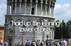 Hold up the leaning tower of Pisa on a photograph -2012
