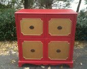 1940s Art Deco Tall Boy Dresser with Inlay Detailing. $395.00, via Etsy.