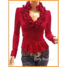 Ruffle Flounce Stand Collar Pleated Waist Blouse Top Red via Polyvore