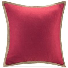 """Madison Park 20"""" Square Linen with Jute Trim Decorative Pillow ($120) ❤ liked on Polyvore featuring home, home decor, throw pillows, red, linen throw pillows, square throw pillows, red home decor, red accent pillows and contemporary throw pillows"""