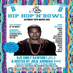 Hip Hop N Bowl at Bloomsbury Lanes, Basement of Travistock Hotel, Bedford Way, London, WC1H 9EU, UK on Mar 28, 2015 to Mar 29, 2015 at 9:00pm to 3:00am. We like bowling, and we Love Hiphop. So, why not merge the two, throw in some of the hottest hiphop Djs about and BOOM - Hip Hop'N'Bowl! It's Hiphop vibes, old and new - think 2 Pac, Biggie, Nas, Snoop, Busta, Missy.  URLs: Facebook: http://atnd.it/22576-0 Tickets: http://atnd.it/22576-2  Category: Nightlife,  Price: ADV £5, Door After 11pm…