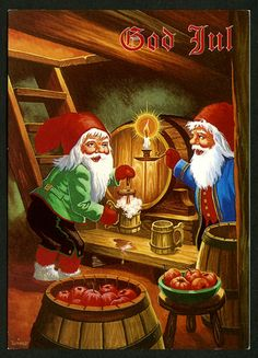 Wimo Christmas Pictures, All Things Christmas, Christmas Gnome, Christmas Cards, Vintage Cards, Vintage Postcards, Gnome Pictures, Mushroom Art, Elves And Fairies