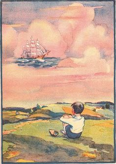 "A ship in the clouds. I can imagine a little boy's dreams. So sweet. Illustration by Tom Lamb.....**this pinner---I have a book from 1931 called ""Runaway Rhymes"" that Tom Lamb illustrated...love his work."