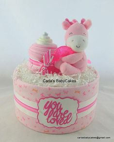 Giraffe diaper cake | Baby diaper cake | Girl diaper cake | Baby shower gift | New mom gift | Baby shower decoration | Corporate baby gift