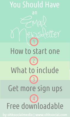 How to Start An Email Newsletter - 4 part series - ohksocialmedia When was the last time you got a really awesome, entertaining, inspiring newsletter? What is it because my friend, I want to check that shit out. Do you currently have a newsletter? What's worked for you? What hasn't? What has held you back from starting one? Share your thoughts below and I promise to respond personally! http://ohksocial.com/start-email-newsletter/