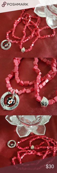 Spirit red coral murano glass heart mala necklace Nwt love pray style lovepray Jewelry Necklaces